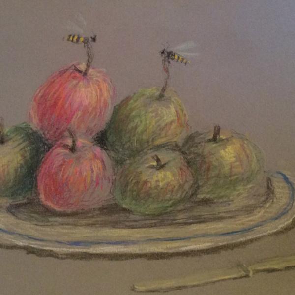 Блюдо с яблоками. Бум., пастель. 33х50. 2015