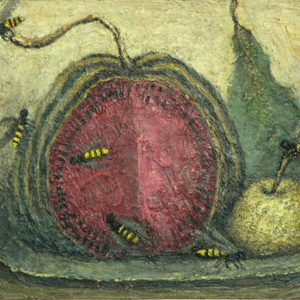 Арбуз и осы. х.м. 40х50. 2002