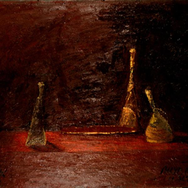 Артаксеркс, Аман и Эсфирь (на тему Рембрандта). 100х120. 1992<br> Текст на холсте: «Эта граненая бутылка из-под уксуса выглядит сейчас совсем невзрачно. Однако недавно она вмешала столько яда! За это ее разобьют!»