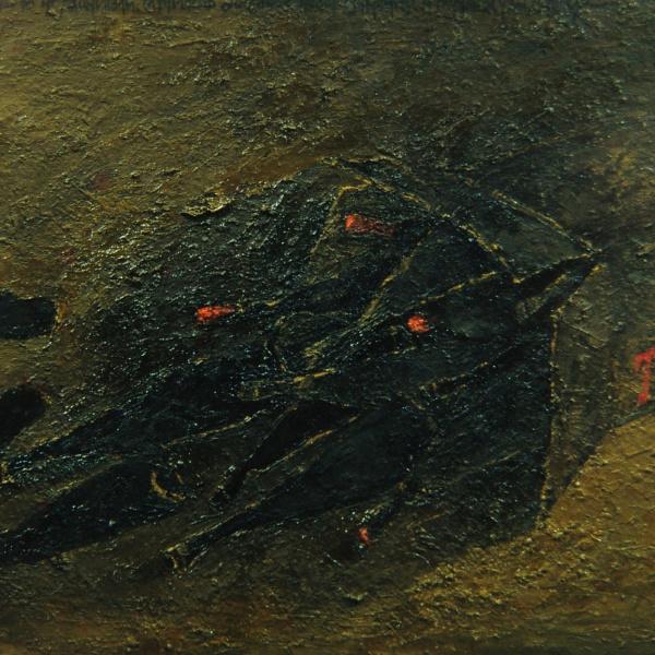 Авария. х.м. 80х130<br> Текст на холсте: «Вероятно, что- то не рассчитали. Случилось досадное недоразумение, а результат, увы, налицо.»